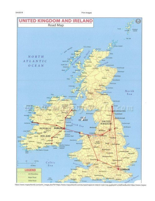 Ireland trip map Ireland
